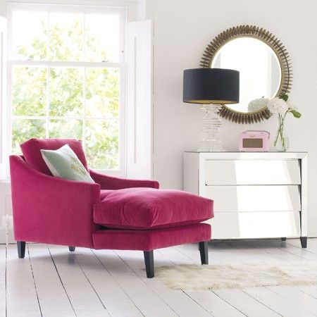Designed by Jamie Graham the Dream chaise longue takes comfort and relaxation to another level. Made and upholstered in England, the frame and legs are made from beech wood and the seat and back cushions have a generous feather and fibre filling for ultimate decadence.