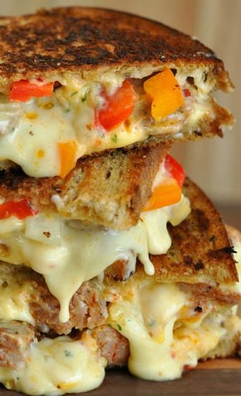 Sausage and pepper grilled cheese. Spicy, cheesy, and sooo delicious!