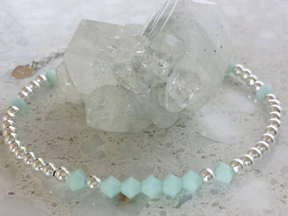 Swarovski Beaded Bracelet / Mint Green and Silver Beaded  #swarovskicrystals #swarovskibracelet #swarovskibeadedbracelet #swarovskijewelry #littlefierce76