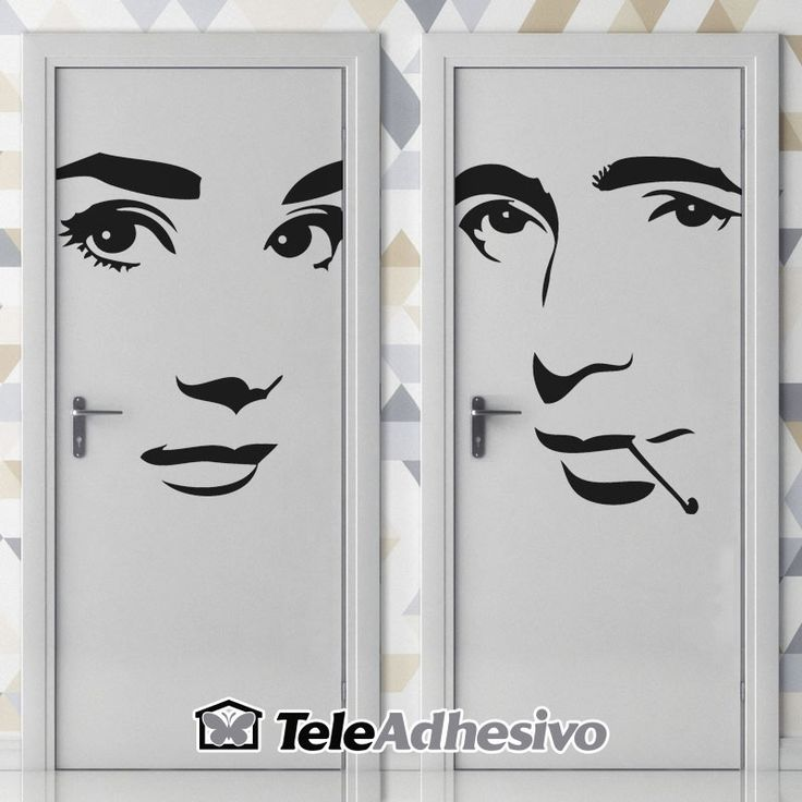 Señal de WC de Audrey Hepburn y Humphrey Bogart #wc #decoracion #vinilo #puerta #TeleAdhesivo