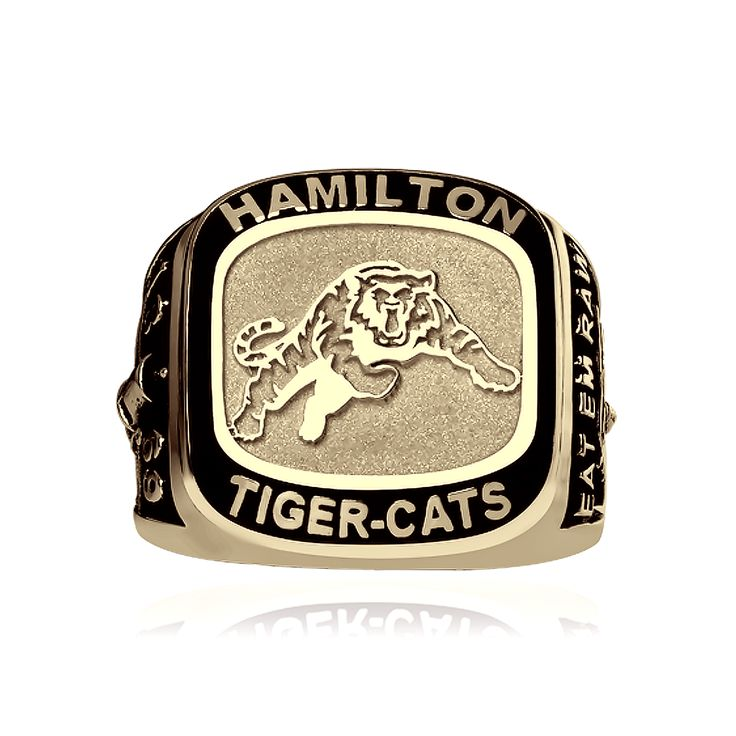 Men's large 10kt yellow gold Hamilton Tiger-Cats ring. Available in sizes 9.5, 10.5 or 11.5. Can be ordered in other sizes, inquire to learn more.