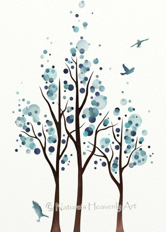 Blue Home Decor Watercolor Tree Print Flying by NaturesHeavenlyArt