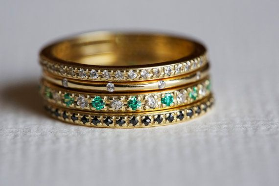 Set of 4 stacking diamond and emerald rings This listing is for the 14k gold diamond and emerald ring set . It can be worn as a set or separately. A perfect choice for wedding or engagement. It is handmade. The diamond band: • Gemstone: Diamond • Gemstone size: 0.005ct • Gemstone Quality: clarity VS • Material: 14/18k, yellow/white/rose solid gold, silver • Gold Weight: Approx. 2.8 grams • Measurements: Approx. 1.3mm wide • Special Features: diamonds go all arround • Size: 3.5-8 (Larger and…