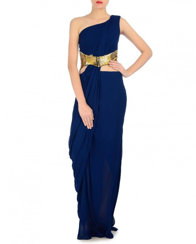 Cobalt Blue One Shoulder Sari Gown