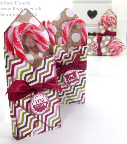 Stampin Up Envelope Punch Board Candy Cane Box tutorial video by POOTLES
