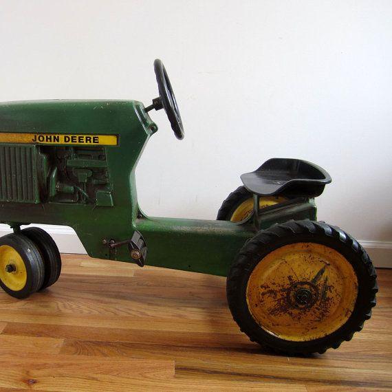john deere old kids tractor 1960's   vintage John Deere kids Ertl tractor // working pedals & steering ...