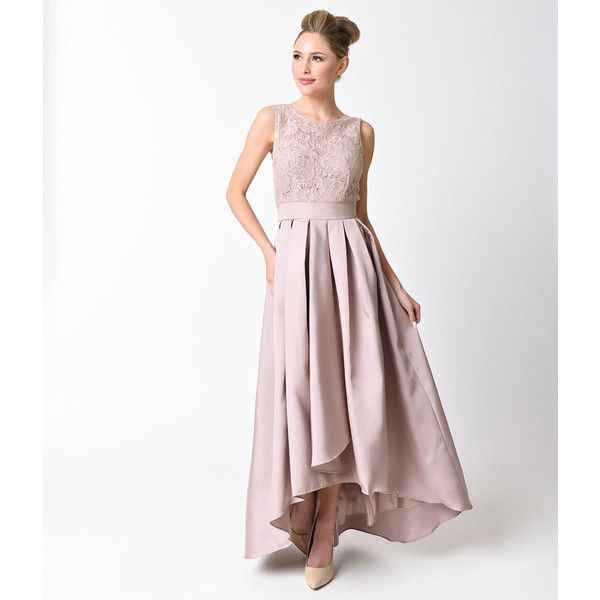 Mocha Modest Lace Pleated High Low Dress (€100) ❤ liked on Polyvore featuring dresses, brown, high low dresses, lace dress, white lace dress, sleeveless dress and sleeveless lace dress