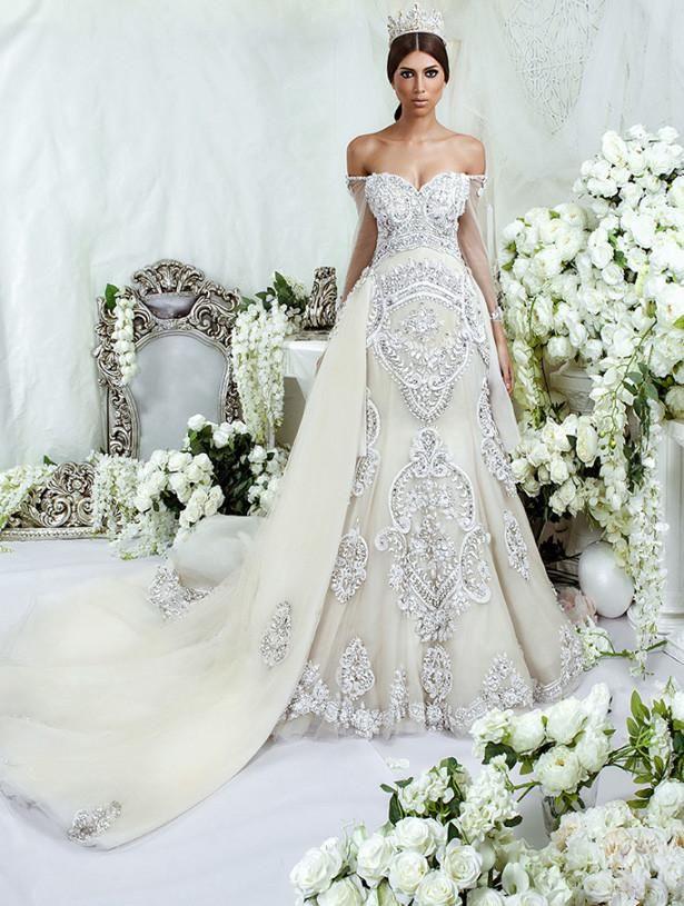 c42e4e96ac4c 2016 New Arrival Luxury Heavy Beading Pearls Crystal Sweetheart Long  Sleeves Tulle Mermaid Removable Train Formal Wedding Dress  #mermaidbridalgowns ...