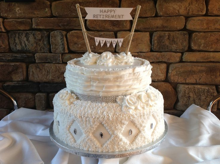 A small white bling wedding cake or retirement cake for a women!