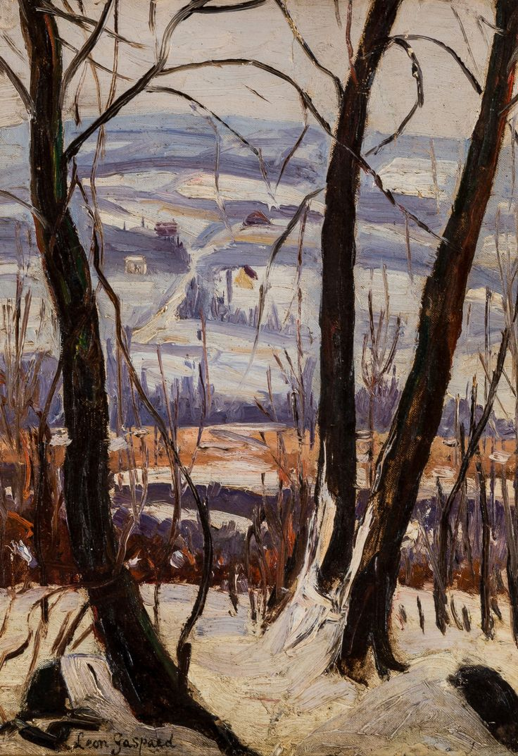 """"""" Leon Gaspard (Russian-American,1882-1964) Winter Landscape, N/D Oil on canvas laid on paperboard, 40.5 x 30.5 cm """""""