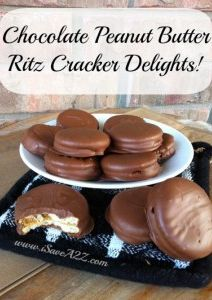 "Chocolate Peanut Butter Ritz Cracker Delights...these were my ""go to"" Christmas cookie exchange cookie every year until we moved overseas and the cost of peanut butter was unreasonable and we couldn't find Ritz crackers anymore:( I miss them so much!!! They're so easy to make and everyone loves them:)"