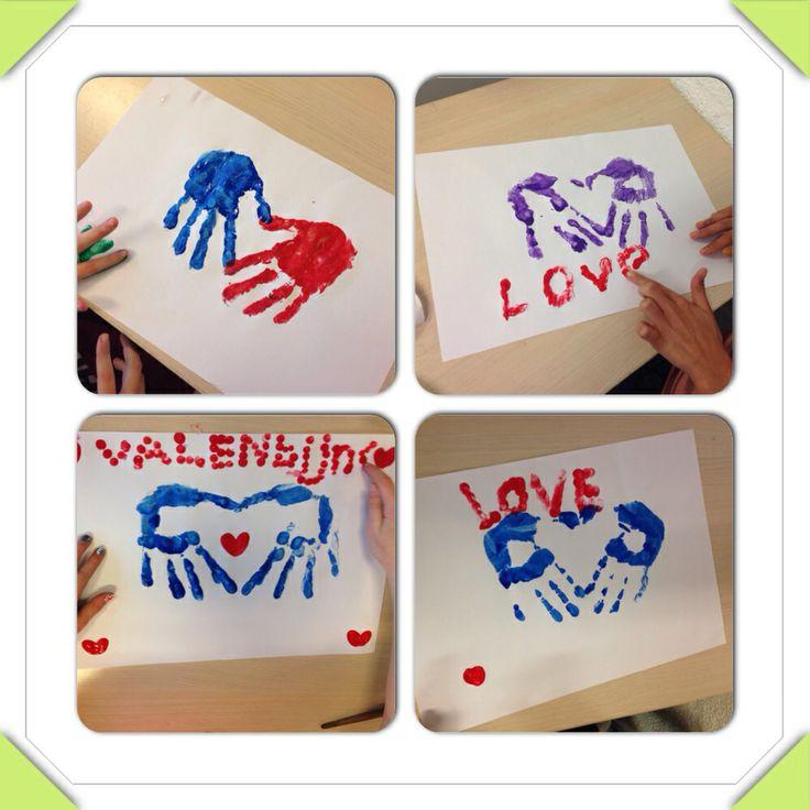 Valentijnsdag placemat liefde handen en vingerafdrukken