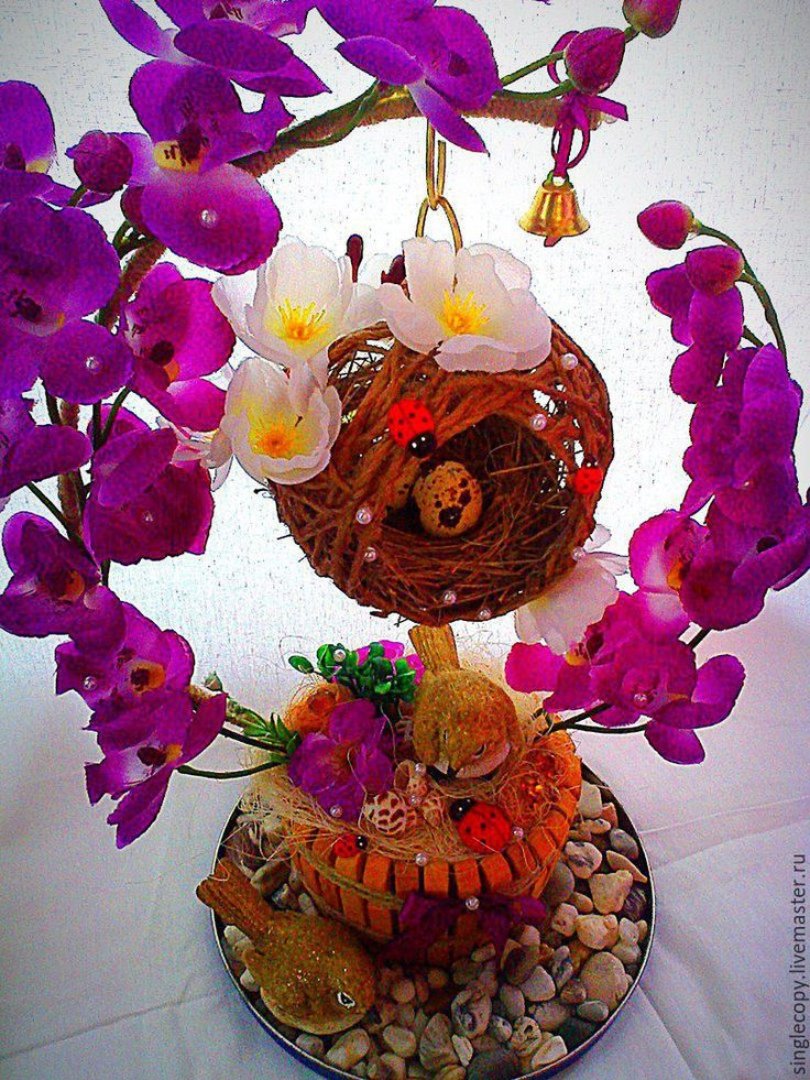 """Купить Интерьерная композиция """"Птички счастья"""" - сиреневый, птички счастья, интерьерная композиция, керамические украшения"""