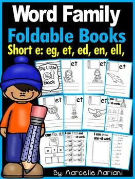 **NEW LISTING** 50% off for next 48 hours. This package offers short e word family CVC fold-able books covering the short e vowel sound.  You need to fold horizontally and vertically, align the pages and staple.  These are great book bag book and they fit perfectly in a student agenda (if you keep those).