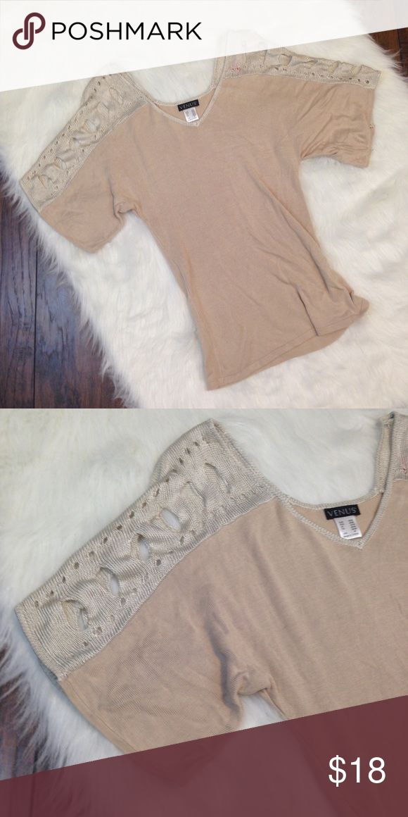 Cream sweater Cream short sleeve sweater with cutout shoulders. Venus Tops Tees - Short Sleeve