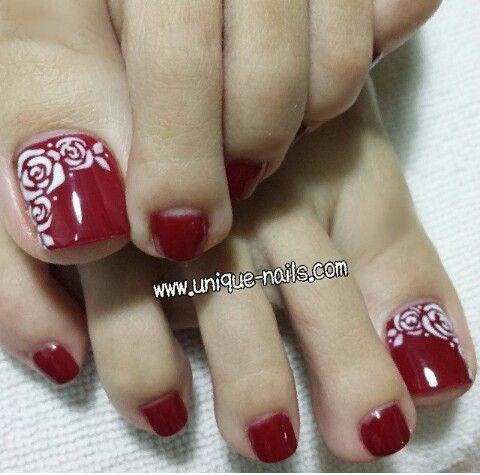 Pretty Pedicure- pretty white roses with red polish