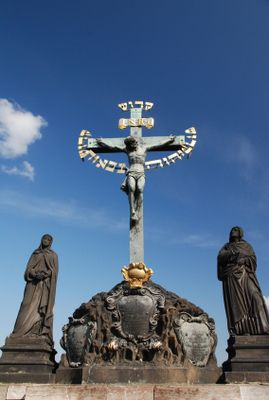 Photos of Charles Bridge North Side Statues: Statue of the Crucifixion on Charles Bridge
