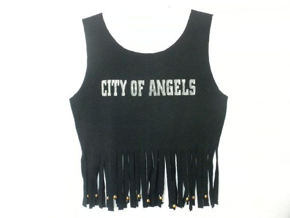 City Of Angels Black Fringe T Shirt Tank Top with by DJVboutique
