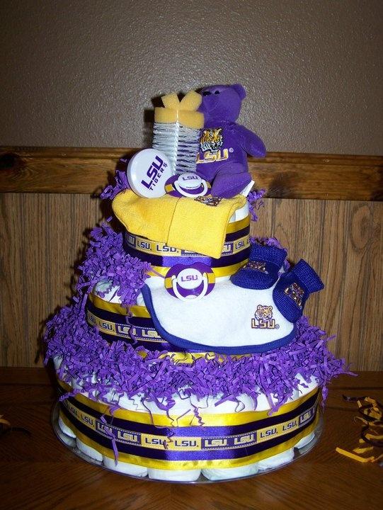 LSU Diaper Cake Baby Burris Shower Ideas Pinterest