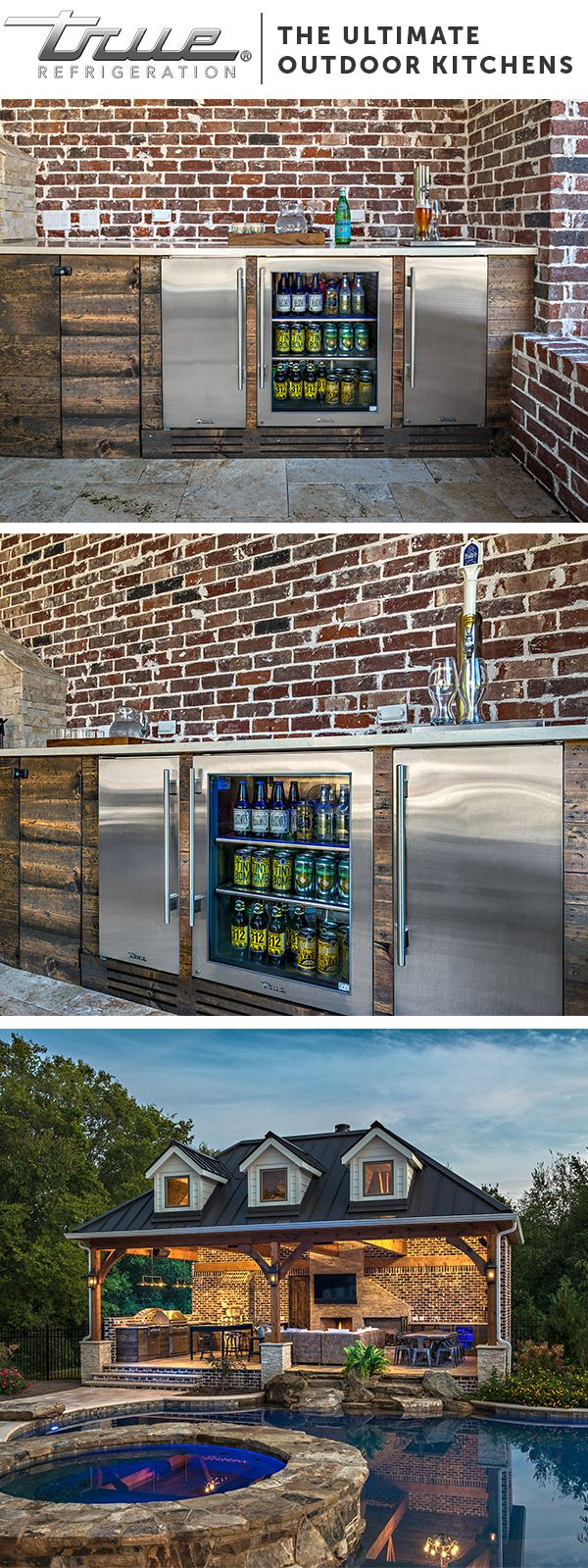 At TRUE we design products to fully suit your outdoor kitchen. Clear Ice, Beer, Drinks, and Snacks can all be stored right where you need them: outdoors. | True Residential