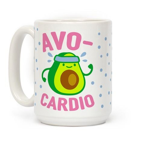 Show off your love of nutrition and fitness with this avocado lover's, fitness and food pun, cardio/workout coffee mug! Now eat your avocados and go for a run!