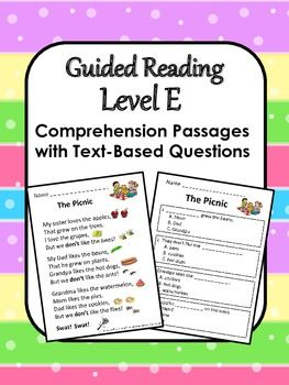 15 Guided Reading Level E Comprehension Passages with Text-Based Questions.  A great pack for kids to work through over the winter break.  Also available for Levels C, D, F and G.  ($)