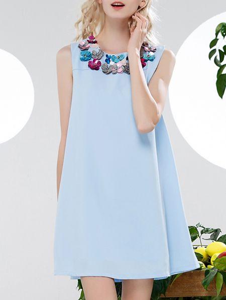 ¡Cómpralo ya!. Blue Applique Pouf Shift Dress. Blue Round Neck Sleeveless Polyester Shift Short Plain Fabric has no stretch No Summer Casual Day Dresses. , vestidoinformal, casual, informales, informal, day, kleidcasual, vestidoinformal, robeinformelle, vestitoinformale, día. Vestido informal  de mujer color azul marino de SheIn.