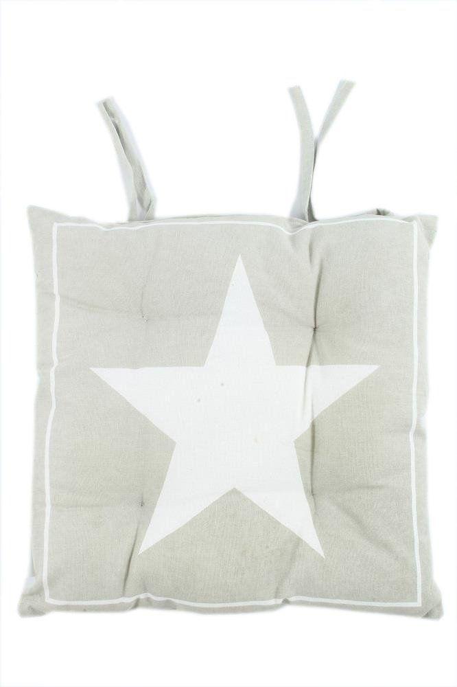 Stuhlkissen - grau mit Stern