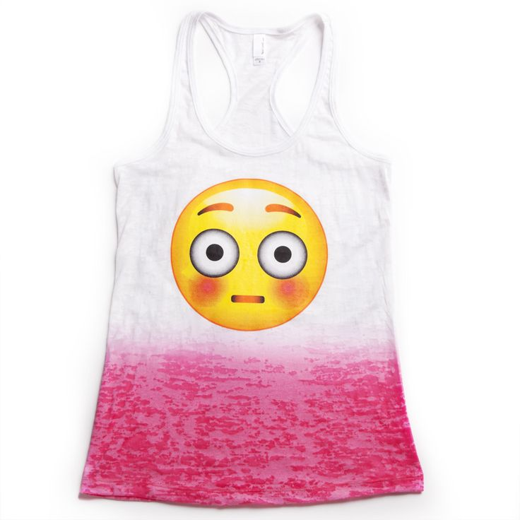 Blushing Emoji Tank: http://shop.nylon.com/collections/whats-new/products/burnout-ombre-racerback-tank-blushing-emoji. #NYLONshop