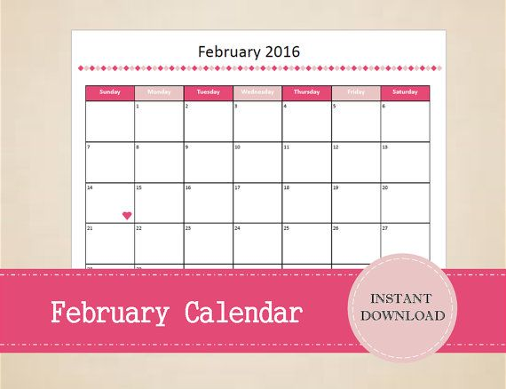 Printable February 2016 Calendar  Seasonal by MBucherConsulting