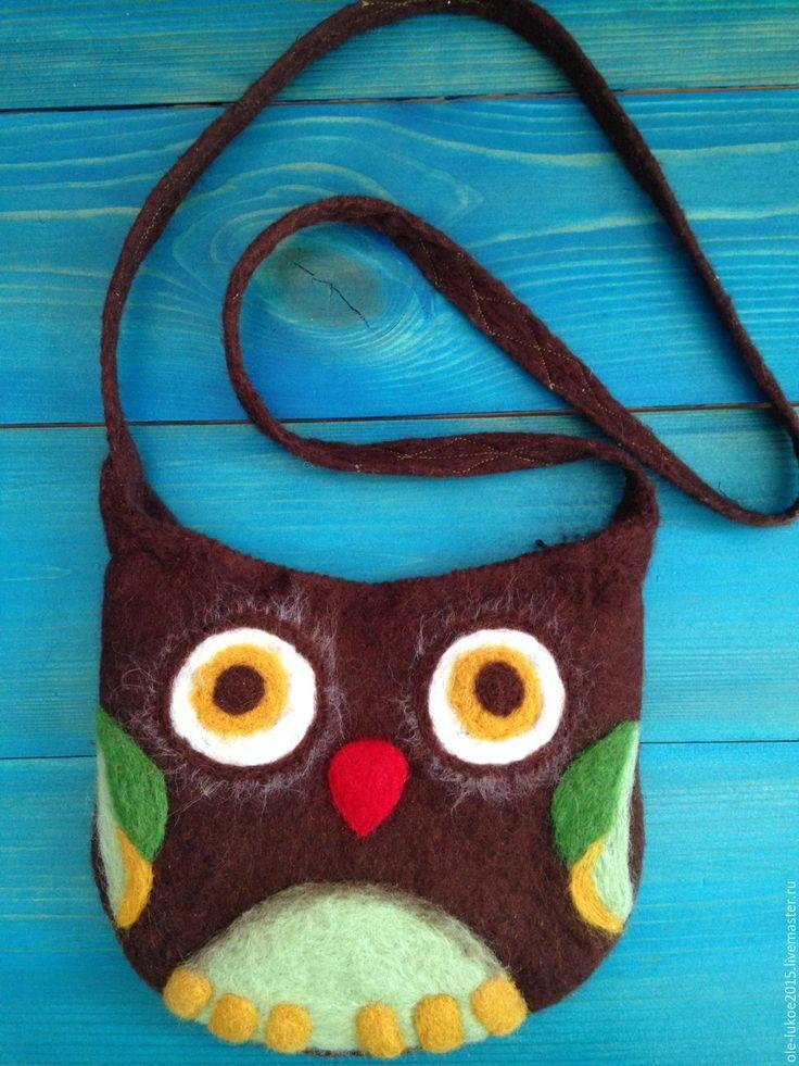 """Купить Валяная коричневая сумка """"Сова"""" - коричневый, рисунок, сова, Аппликация, сумка ручной работы"""