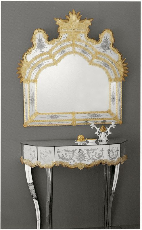 17th Century Venetian Mirror An Exquisite Genuine Murano Mirror Reminiscent  Of The Sumptuous Atmosphere Of The