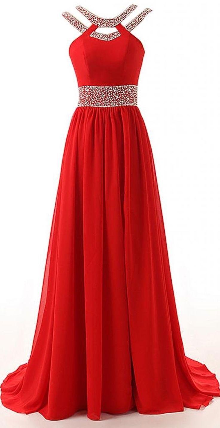 Long A-Line Red Split Beaded Chiffon Evening Winter Formal Prom Dress