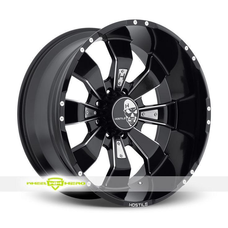 Hostile Hammered 8 Black Milled Wheels For Sale  - For more info:  http://www.wheelhero.com/customwheels/Hostile/Hammered-8-Black-Milled