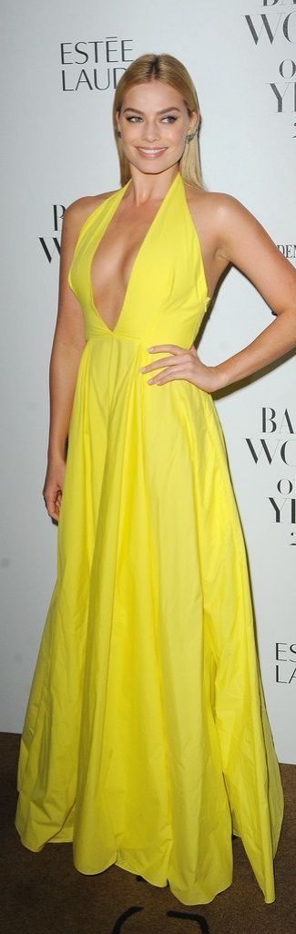 Style inspiration CFDA Award-winning Fashion designer Rosie Assouline: Yellow is always an intimidating color to rock, but Margot Robbie proved she could pull it off in this plunging halter gown.