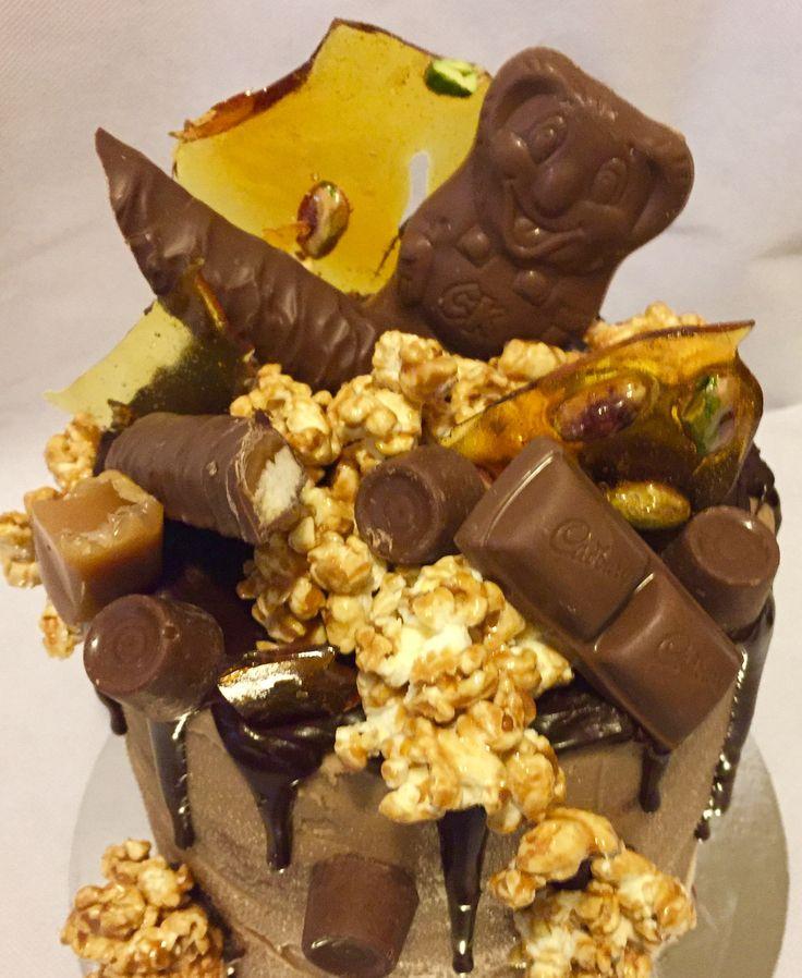 Chocolate and  caramel drip Cake.