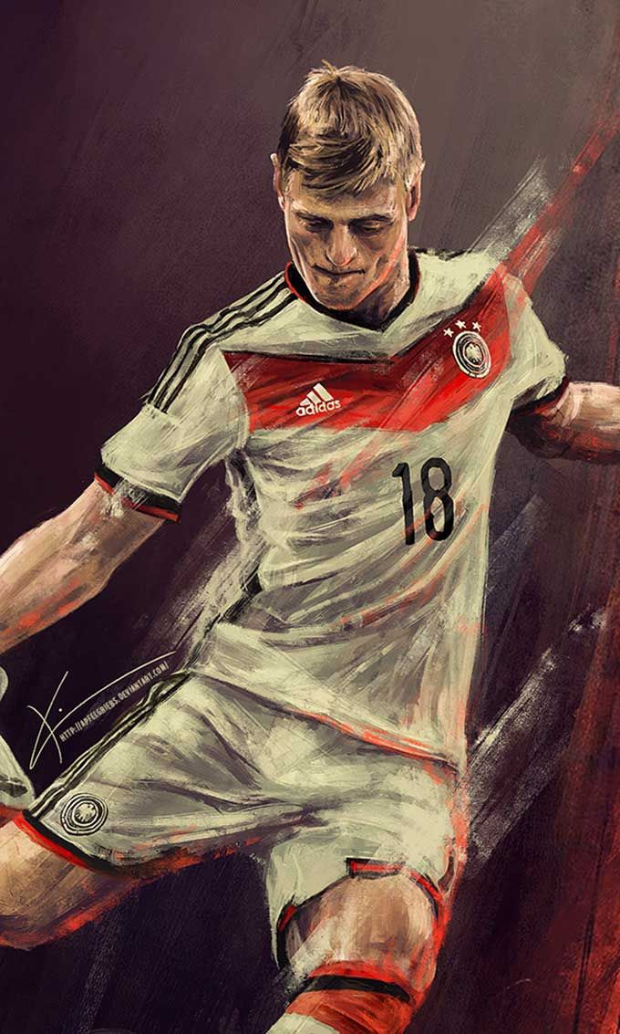 Pinturas dos jogadores da Alemanha celebrando a conquista da Copa do Mundo por Kim Christensen