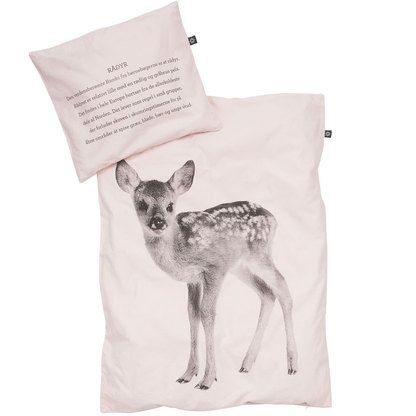 By Nord deer baby quilt cover and pillowcase soft pink (baby size) - Norsu