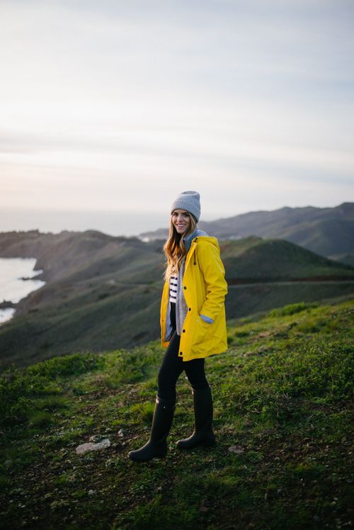 Gal Meets Glam Marin Headlands in my Petit Bateau Jacket, J.Crew Sweater and Jeans, Hunter Boots  & APC Beanie