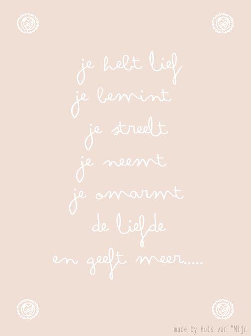 """Kaart, woorden, liefde,valentijn, design made by Huis van """"Mijn"""""""
