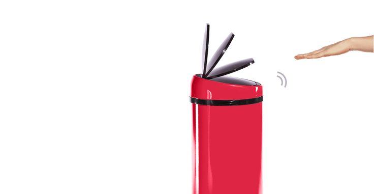Sensé Bin, poubelle automatique 50L, rouge | made.com