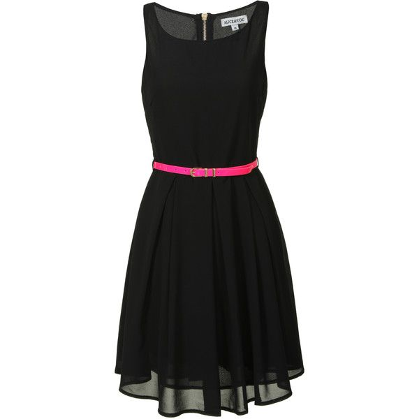 Alice & You - Black Skater Dress With Pink Belt found on Polyvore featuring polyvore, fashion, clothing, dresses, black, black a line cocktail dress, black cocktail dresses, round neck dress, pleated dress and pleated skater dress
