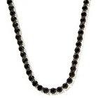 127-079 - Gem Treasures Sterling Silver Black Spinel Tennis Necklace
