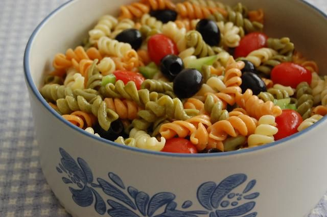 Spiral Pasta Salad 12 servings 1 package (12 ounces) tri  color spiral pasta 3 tomatoes, seeded and chopped 1/2 green bell pepper, chop...
