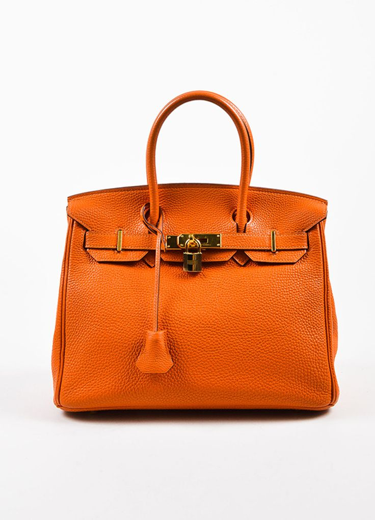 "Hermes Tangerine Orange Clemence Grain Leather Top Handle ""Birkin 30"" Tote Bag"