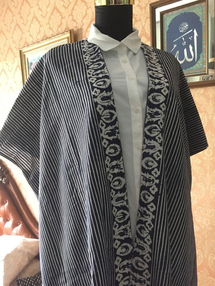 black stripe batik outer