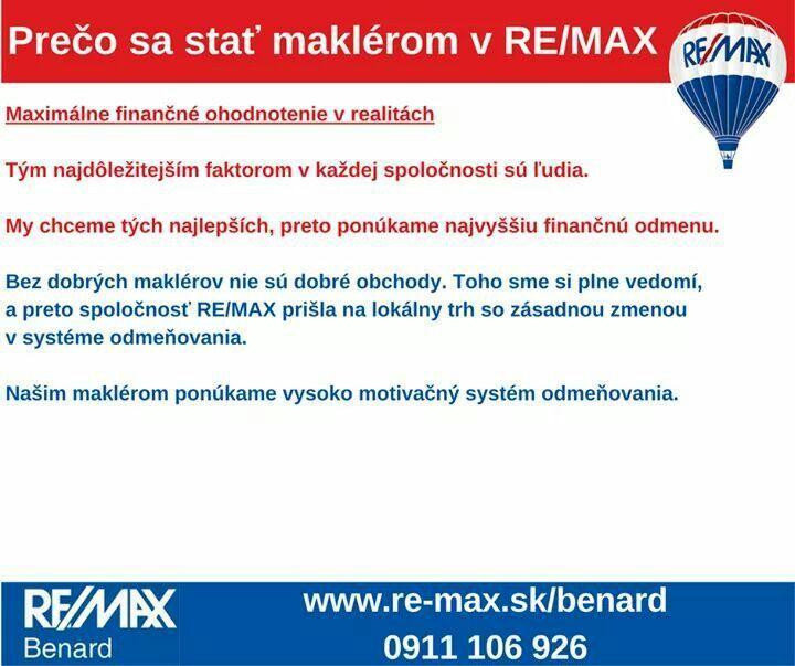 Motivačné maximálne finančné ohodnotenie.  V našej kancelárií RE/MAX Benard Vám ponúkame možnosť až 90% provízie  Ak Vás zaujímajú podrobnosti, kontaktujte nás >> http://goo.gl/ij3OTf  www.re-max.sk/benard  #REMAXBenard #reality #podnikanie #maklér #nehnuteľnosti