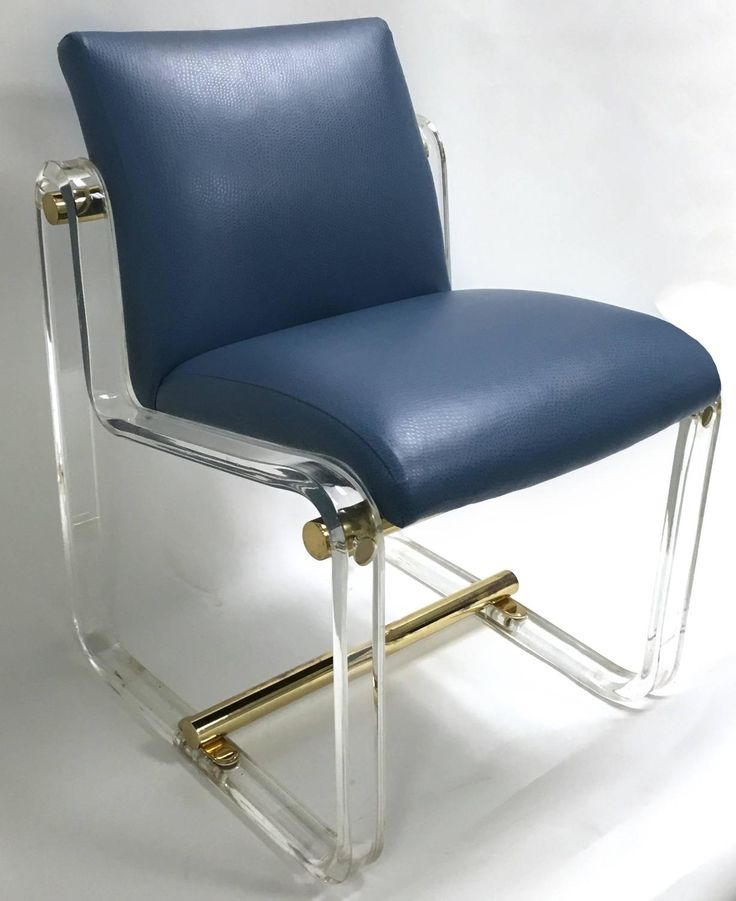 1970s Lucite And Brass Desk Chair Attributed To Pace