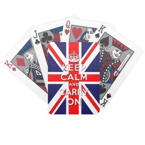 keep calm and carry on Union Jack flag Bicycle Card Decks