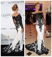 Paris Hilton Vestido de encaje negro Mermaid Prom vestidos de manga larga blanco Vestido de noche Vestido formales 2015